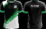Custom eSports Trikot schwarz grün weiss mit Farbstreifen und Linienmuster