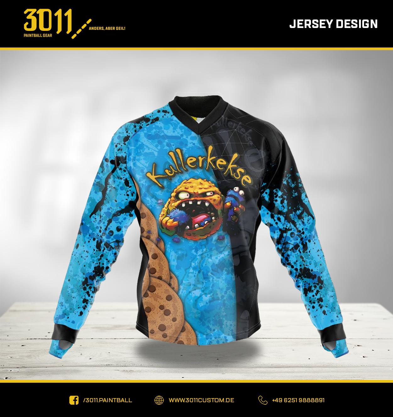 Paintball Jersey Cookie Monster blau schwarz Farbspritzer