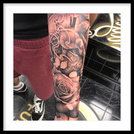 LION, POCKET WATCH, ROSE LOWER FOREARM