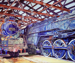 Tony Abboreno_Steam Locomotives Uniion Illinois_48x41in_acrylic on canvas_$4800