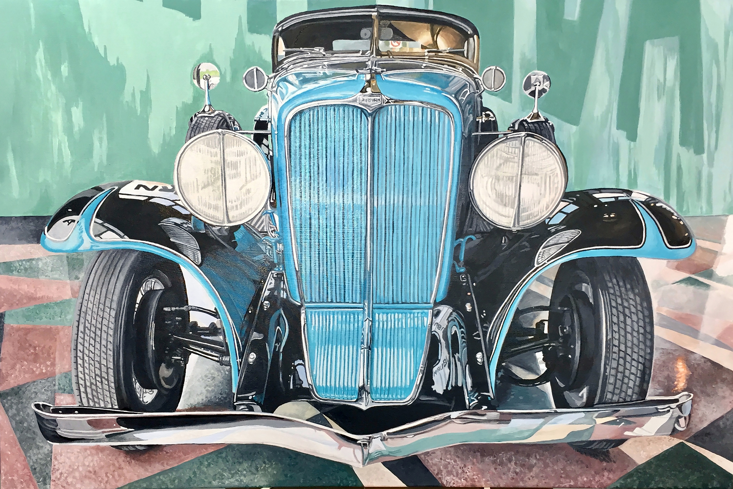 1934 Auburn Roadster acrylic on canvas, 48x32 in