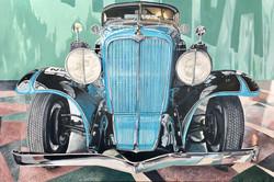 1934 Auburn Roadster acrylic on canvas, 48x32 in