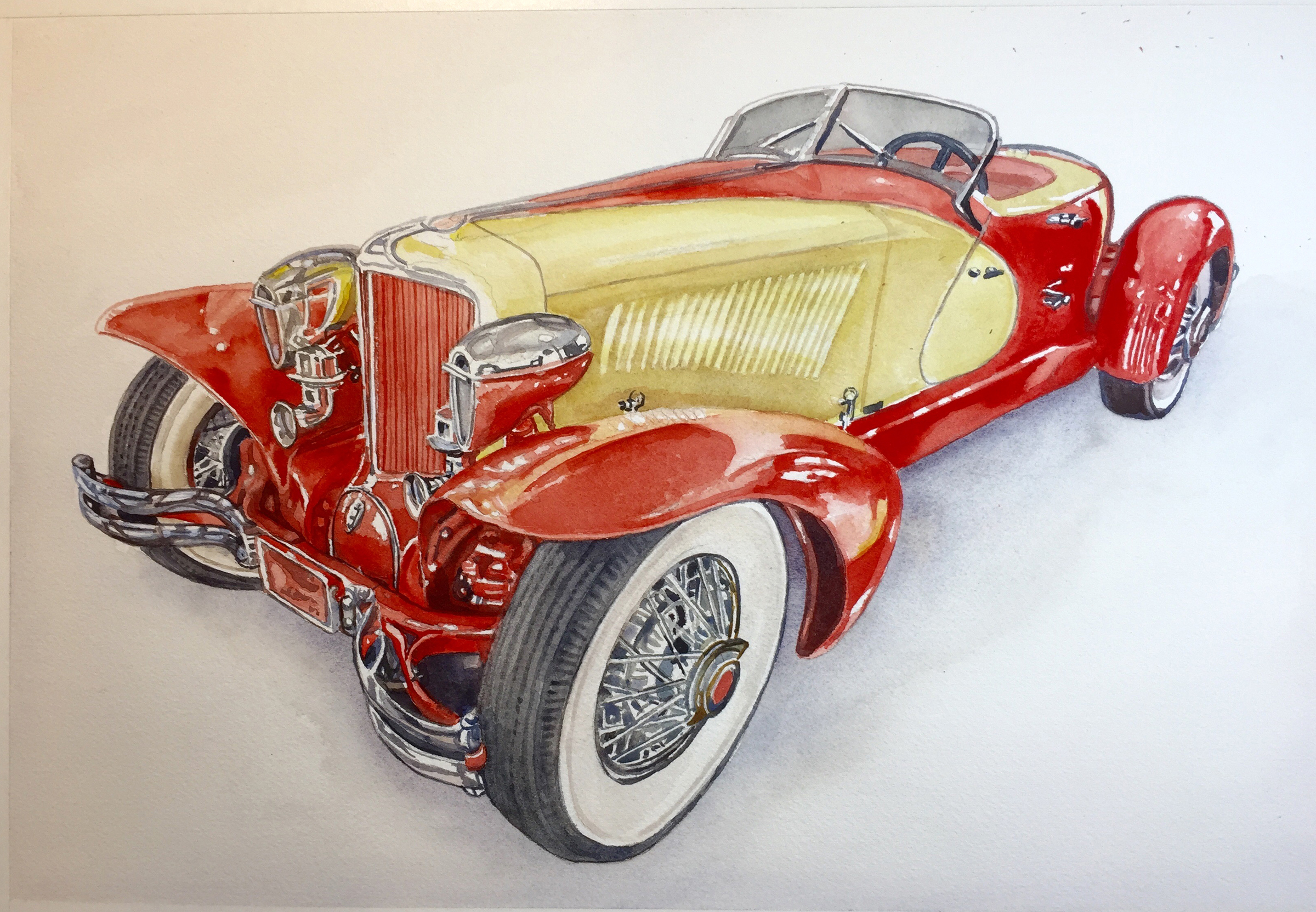 1934 Cord Roadster 27x20 in. watercolor copy 2