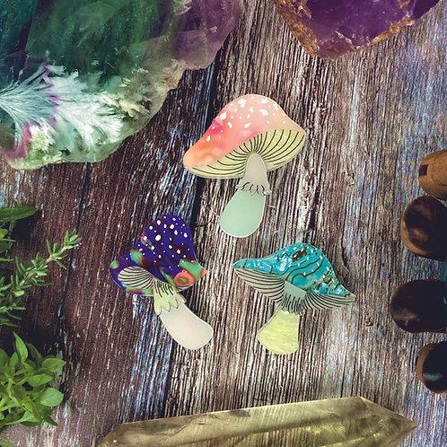 Magic Mushroom Mini Brooch Trio *limited*