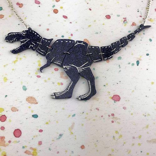 Glitter Purple T-Rex Necklace