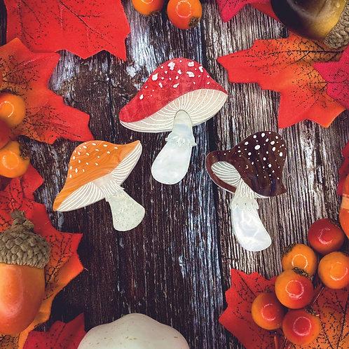 Magic Mushroom Mini Brooch Trio