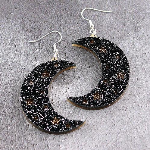 Crescent Moon Earrings Black