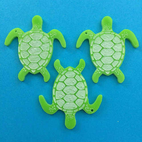 3 Green turtle charms