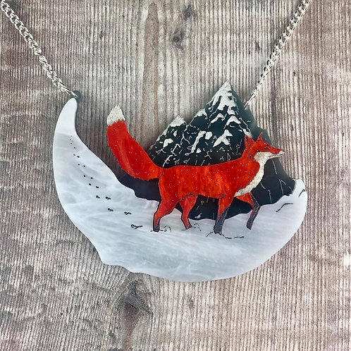 Fox in the Snow Necklace