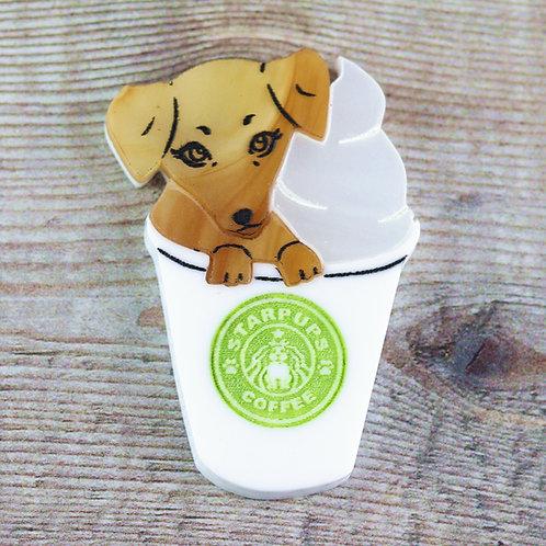 Pup-kin Spice Latte Brooch