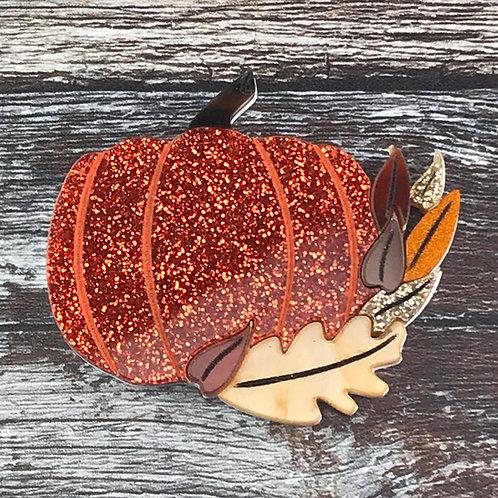 Pumpkin Brooch Orange Glitter