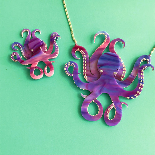 Purple Octopus Necklace
