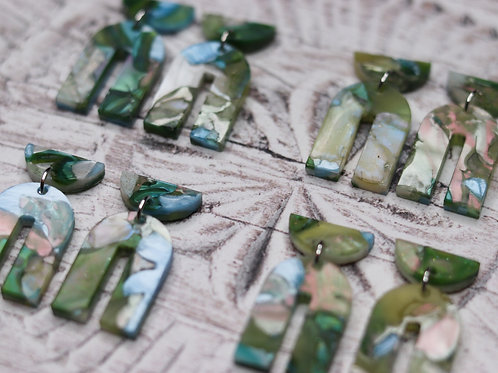 Recycled Acrylic Earrings - Lake side