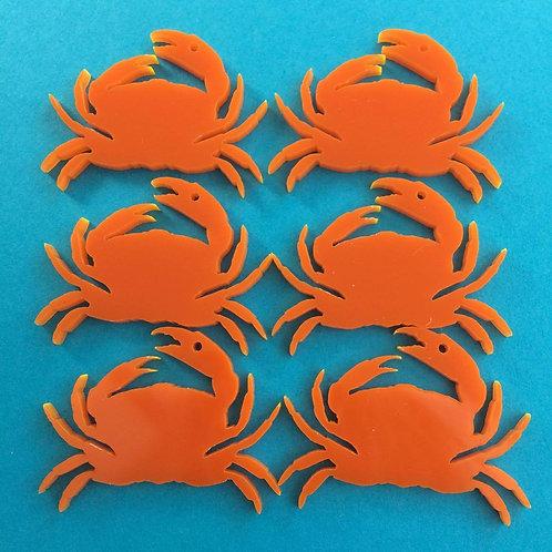 6 Orange Crab Charms