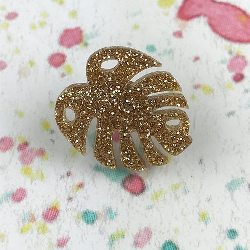 Gold Monstera Leaf Pin
