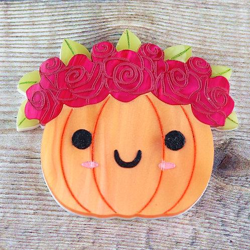 Spring Pumpkin Brooch/ Necklace