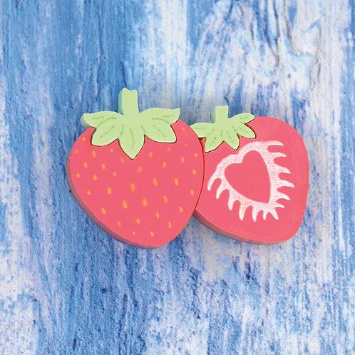Double Strawberry Brooch/Hairslide