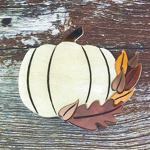 Pumpkin Brooch White Glitter Swirl