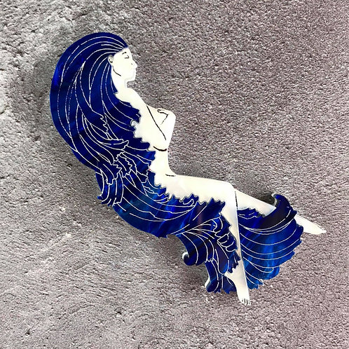 The Woman in the Waves Brooch - Deep Blue