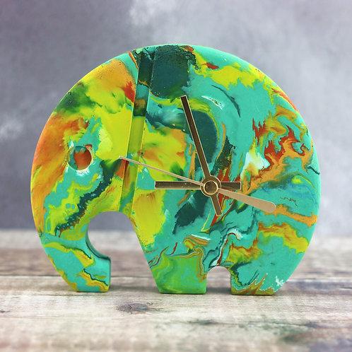 Elephant Clock - Greens