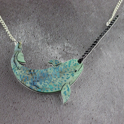 Narwhal Necklace Galaxy Green