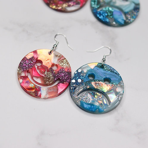 Happy Sad Earrings - Contrasting Colours