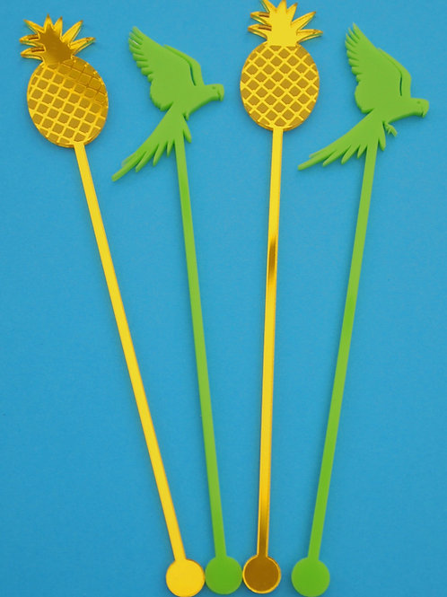 Pineapple & Parrot Cocktail Stirrers - Set of 4