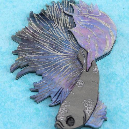 Betta Fish Brooch - Noir *preorder*