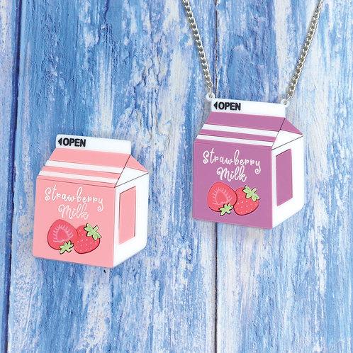 Strawberry Milk Necklace/Brooch