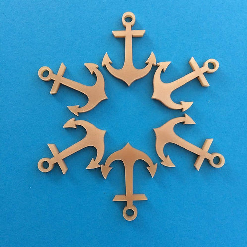 6 Gold Anchor charms
