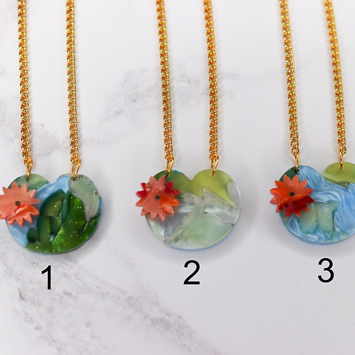 Recycled Lilypad Necklace