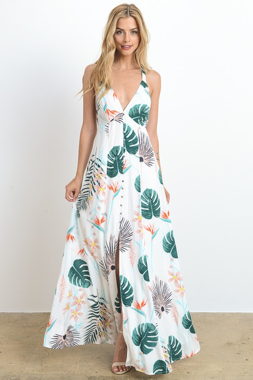bec4bfb38d617 This beautiful Bahama Mama Ivory Maxi Dress has a very tropical palm print  pattern throughout. We are loving the gorgeous button down detail that  stops just ...