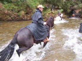 Noelene in a  black Muddy Creek Rain Gea