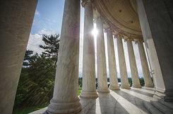 Sun shining through columns at the Jeffe