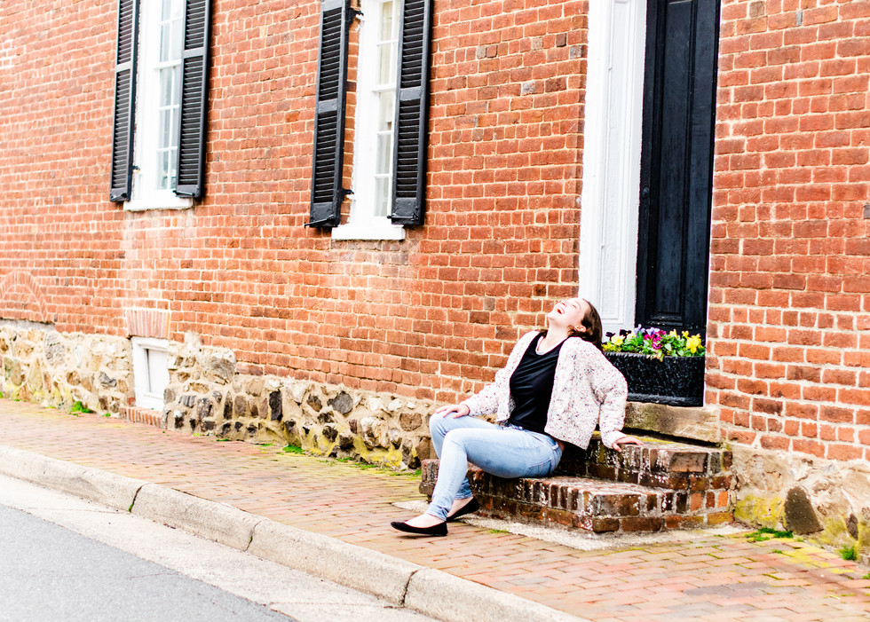 Young Woman Laughing in Downtown Leesburg, VA