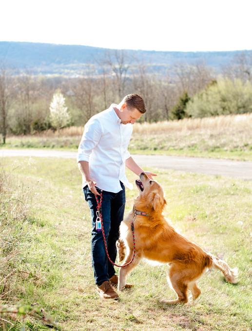 Man and His Golden Retriever in Loudoun County, Virginia