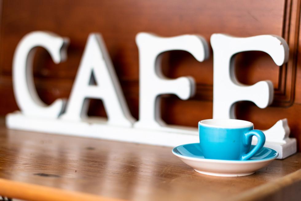 Back Street Brews Cafe Sign, Blue Tea Cup