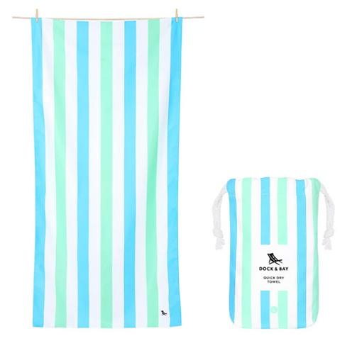 Dock & Bay Towel L - Mint and Blue Stripe
