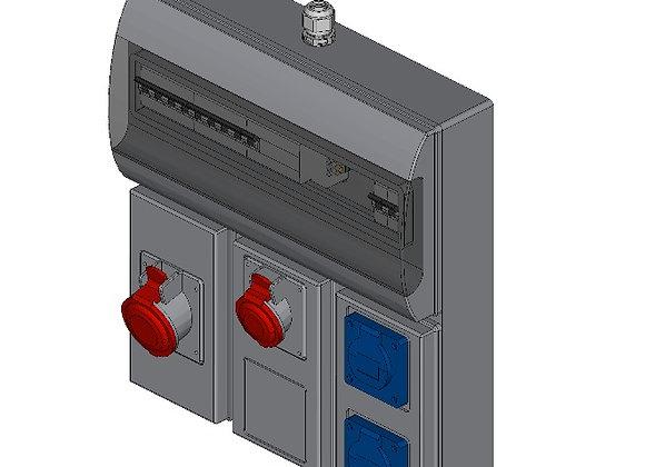 CEE-contactdoos combinatiekast 2x 230V, 16A + 1x 400V, 16A + 1x 400V, 32A