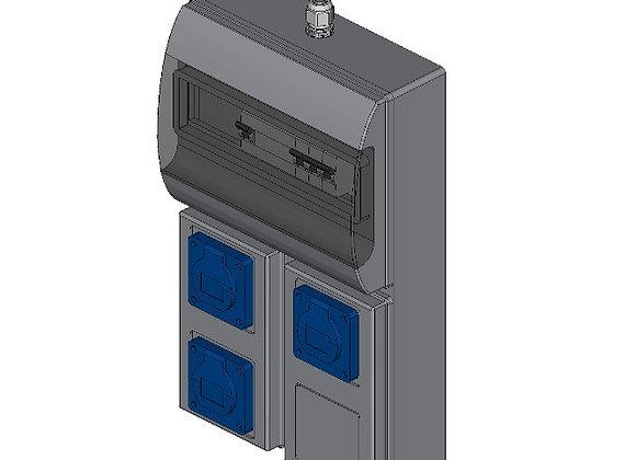 CEE-contactdoos combinatiekast 2x 230V, 16A + 1x 400V, 16A