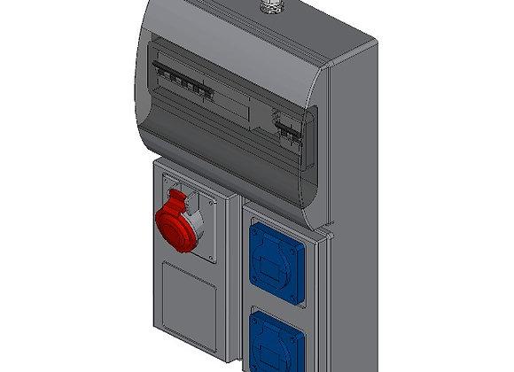 CEE-contactdoos combinatiekast 3x 230V, 16A + 1x 400V, 16A