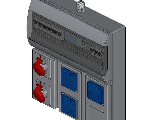 CEE-contactdoos combinatiekast 3x 230V, 16A + 2x 400V, 16A