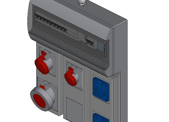 CEE-contactdoos combikast 2x 230V, 16A+ 1x 400V 63A+ 1x 400V, 32A+ 1x 400V, 16A