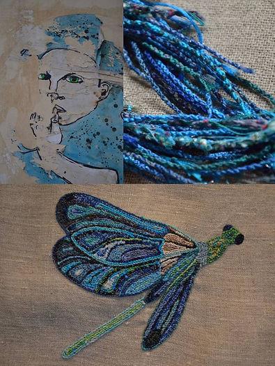 Libellule brodée, pièce unique, art textile Nod's