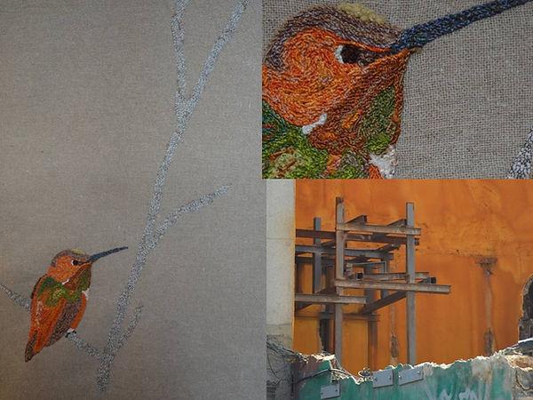 oiseau brodé, colibri, tenture murale, pièce unique