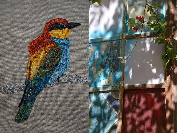 oiseau brodé, sur mesure, art textile, Nod's