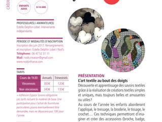 Atelier d'art textile pour enfants et ados à Vincennes à partir de septembre