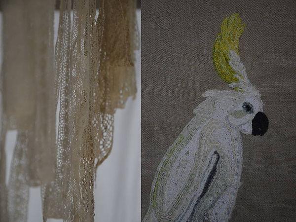 Cacatoes brodé, paravent, pièce unique, art textile
