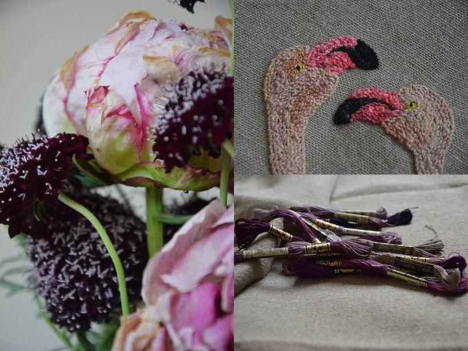 art textile, flamands roses brodés