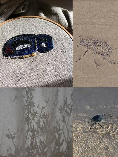 Scarabée brodé, Nod's art textile